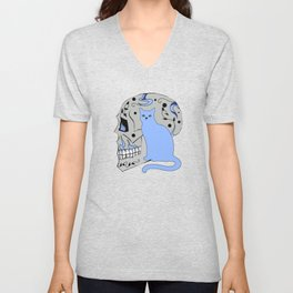 Blue Skull with Black Vines and Cat w Yellow Eyes Unisex V-Neck