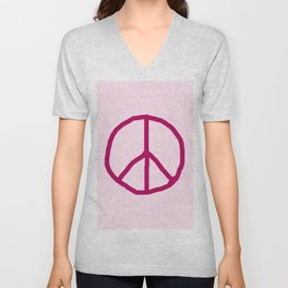 Peace and love 7 - pink Unisex V-Neck