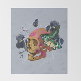 Gold Skull Butterfly Flower by Black Jungle Throw Blanket