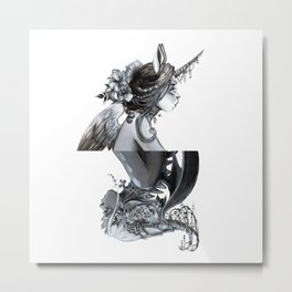 Unicorn and Dragon Metal Print