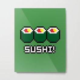8-Bit Sushi Metal Print