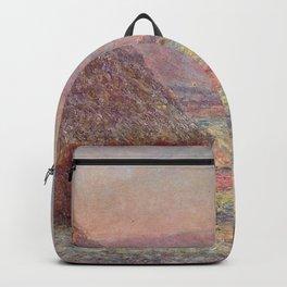 Claude Monet - Grainstacks, White Frost Effect.jpg Backpack