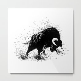 Hand drawing of a raging bull Metal Print