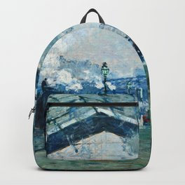 Claude Monet - Arrival Of The Normandy Train, Gare Saint Lazare Backpack