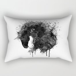 Black and White Horse Head Watercolor Silhouette Rectangular Pillow