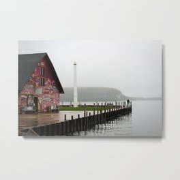 A Man by a Painted Shed on a Misty Day Metal Print