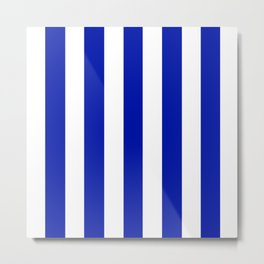Zaffre blue - solid color - white vertical lines pattern Metal Print