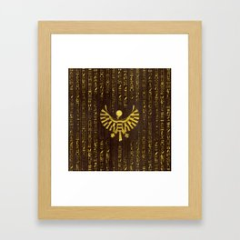 Golden Egyptian Horus Falcon and hieroglyphics on wood Framed Art Print