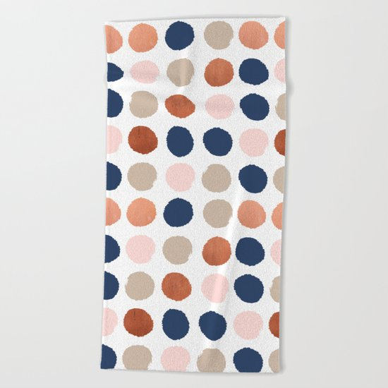 Rose Gold navy copper sparkle modern dots polka dots rosegold trendy pattern cell phone accessories Beach Towel