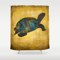 beth hoeckel Shower Curtains featuring Tortus by Ben Geiger