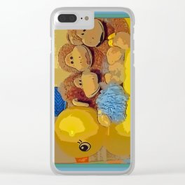 "The ""Stache-Monkeys"" Bathtime antics Clear iPhone Case"