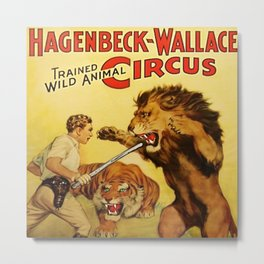 Hagenbeck Wallace Circus - Clyde Beatty Lion Tamer Vintage Poster Metal Print