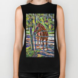 Abstract horse standing at gate Biker Tank