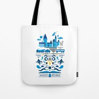 returns Tote Bags featuring Magick Returns by Aphichat Treetaruyanon