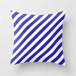 Diagonal Stripes (Navy Blue & White Pattern) Throw Pillow
