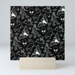 Cryptid Pattern: White Lines Mini Art Print