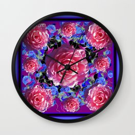 Pink Roses Blue Morning Glories garden Pattern Art Wall Clock