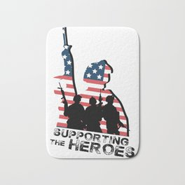 Support My Heroes Memorial Day American Flag Bath Mat