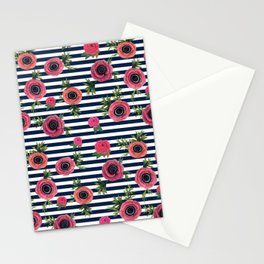 Watercolor Flowers with Nautical Stripes Stationery Cards