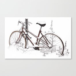 Abandoned Bike in Snow Canvas Print