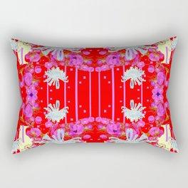 Modern Red Art White Spider Mums Pink Flowers Garden Art Rectangular Pillow