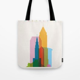 Shapes of Cleveland accurate to scale Tote Bag