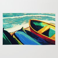 boats Area & Throw Rugs featuring Boats by Christina Rowe