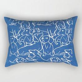 Dachshund Cyanotype Rectangular Pillow