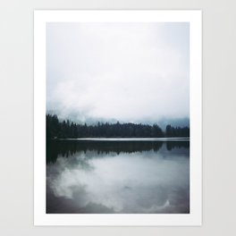 Minimalist Cold Landscape Pine Trees Water Reflection Symmetry Art Print