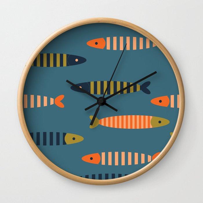 Striped fish - blue Wall Clock