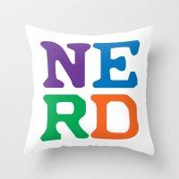 nerd Throw Pillows featuring Nerd by Jenna Allensworth