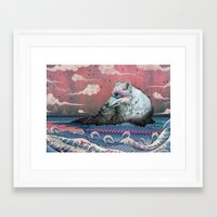 hokusai Framed Art Prints featuring Lone Wolf by Mat Miller