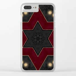 Deep Red Black and Gold Star Pattern Clear iPhone Case
