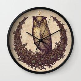 Owl Hedera Moon Wall Clock