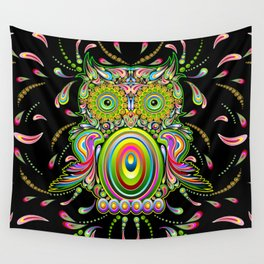 Owl Psychedelic Art Design Wall Tapestry