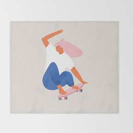 Skateboard girl Throw Blanket