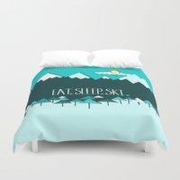 ski Duvet Covers featuring Eat. Sleep. Ski. - Blue by Natasha Phillips