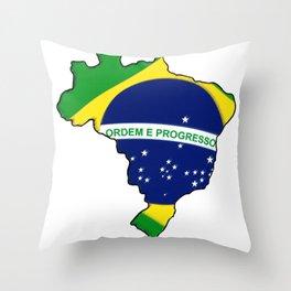 Brazil Brasil Map with Brazilian Brasilian Flag Throw Pillow