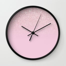Elegant Girly Dusty Pink Rose Glitter Ombre Wall Clock