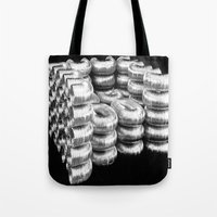 daria Tote Bags featuring AIR DUCT CHAIR BY DARIA PIRNIA by Daria Pirnia