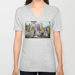 Lafayette, We Are Here! Suffragists protest across from the White House in 1918 Unisex V-Neck