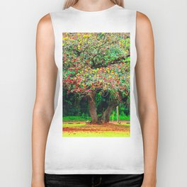 big tree with green yellow and red leaves Biker Tank