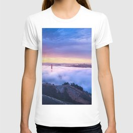 Breathtaking Hillside View Historic Golden Gate Bridge Low Hanging Clouds San Francisco California T-shirt