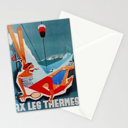 retro Ax Les Thermes poster Stationery Cards