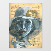 cafe Canvas Prints featuring Cafe by Spinning Daydreams