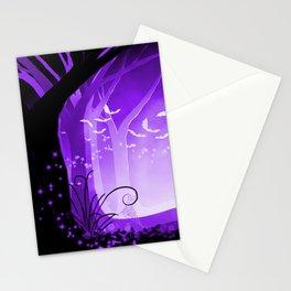 Dark Forest at Dawn in Amethyst Stationery Cards