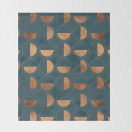 Copper Circles Art Deco on Emerald Throw Blanket