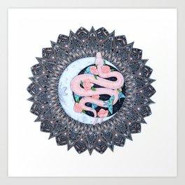 Lunar Pink Python Mandala Art Print