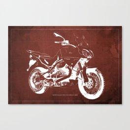 2010 Moto Guzzi Stelvio 1200 4V red blueprint Canvas Print