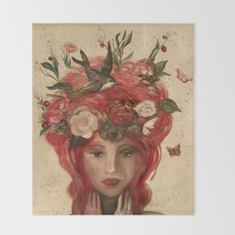 red haired green eyed Crimson Fairy with flowers butterflies and birds portrait Throw Blanket